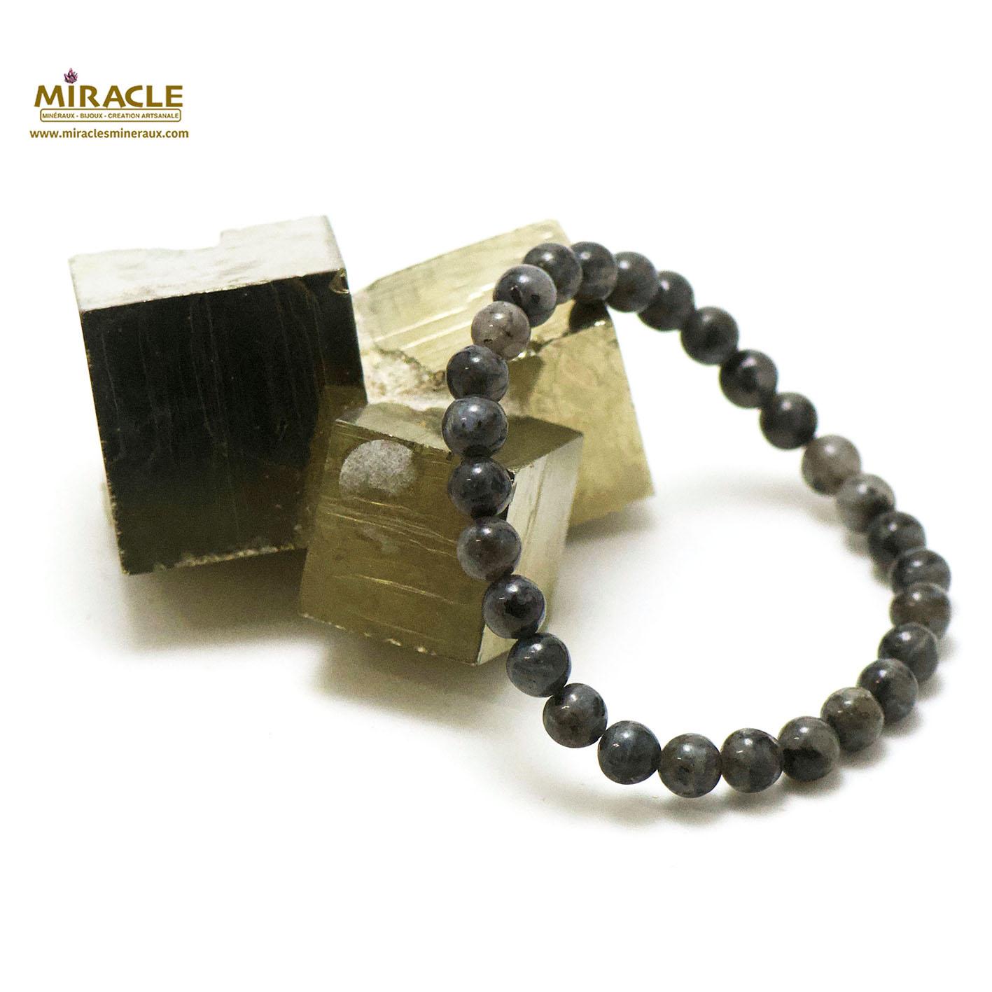 Bracelet larvikite, perle ronde 6 mm