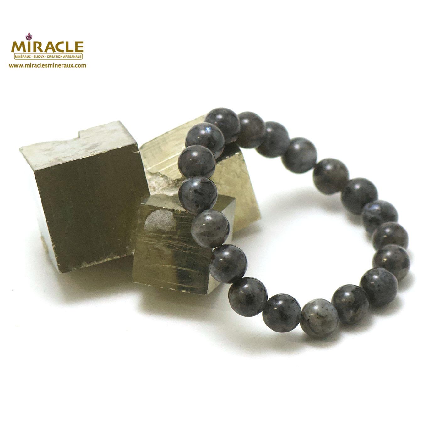 Bracelet larvikite, perle ronde 10 mm