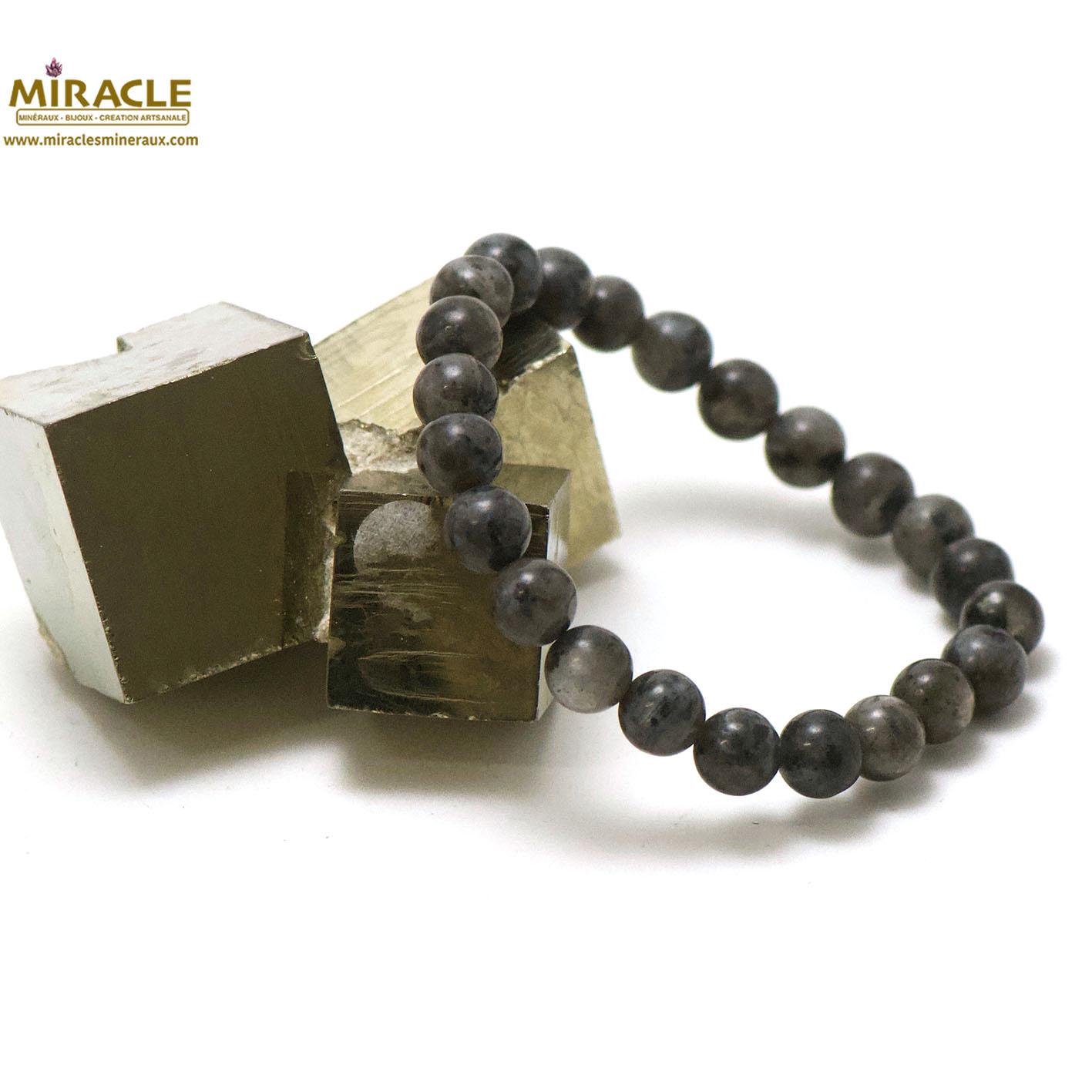 Bracelet larvikite, perle ronde 8 mm