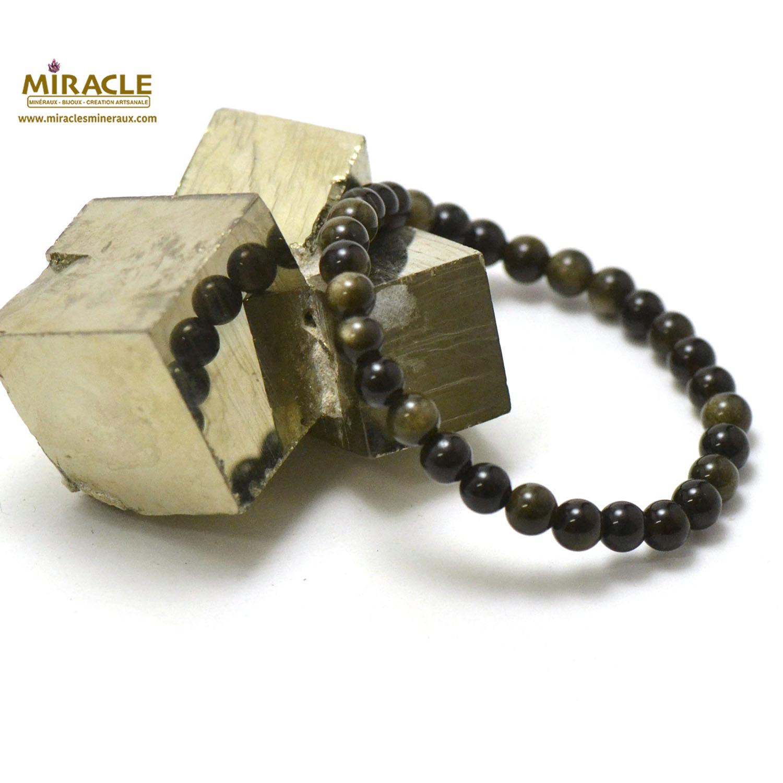 Bracelet obsidienne doré, perle ronde 6 mm