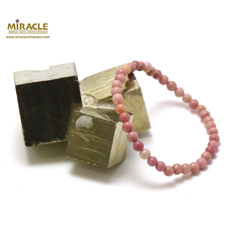 bracelet rhodonite, perle ronde 4 mm