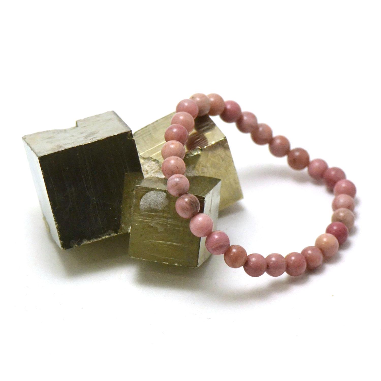 bracelet rhodonite, perle ronde 6 mm