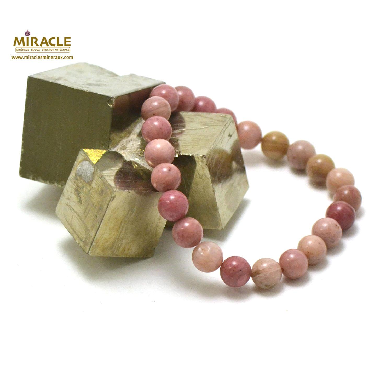 bracelet rhodonite, perle ronde 8 mm