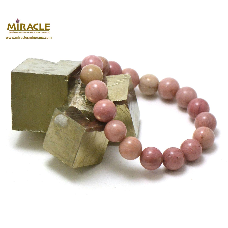 bracelet rhodonite, perle ronde 10 mm