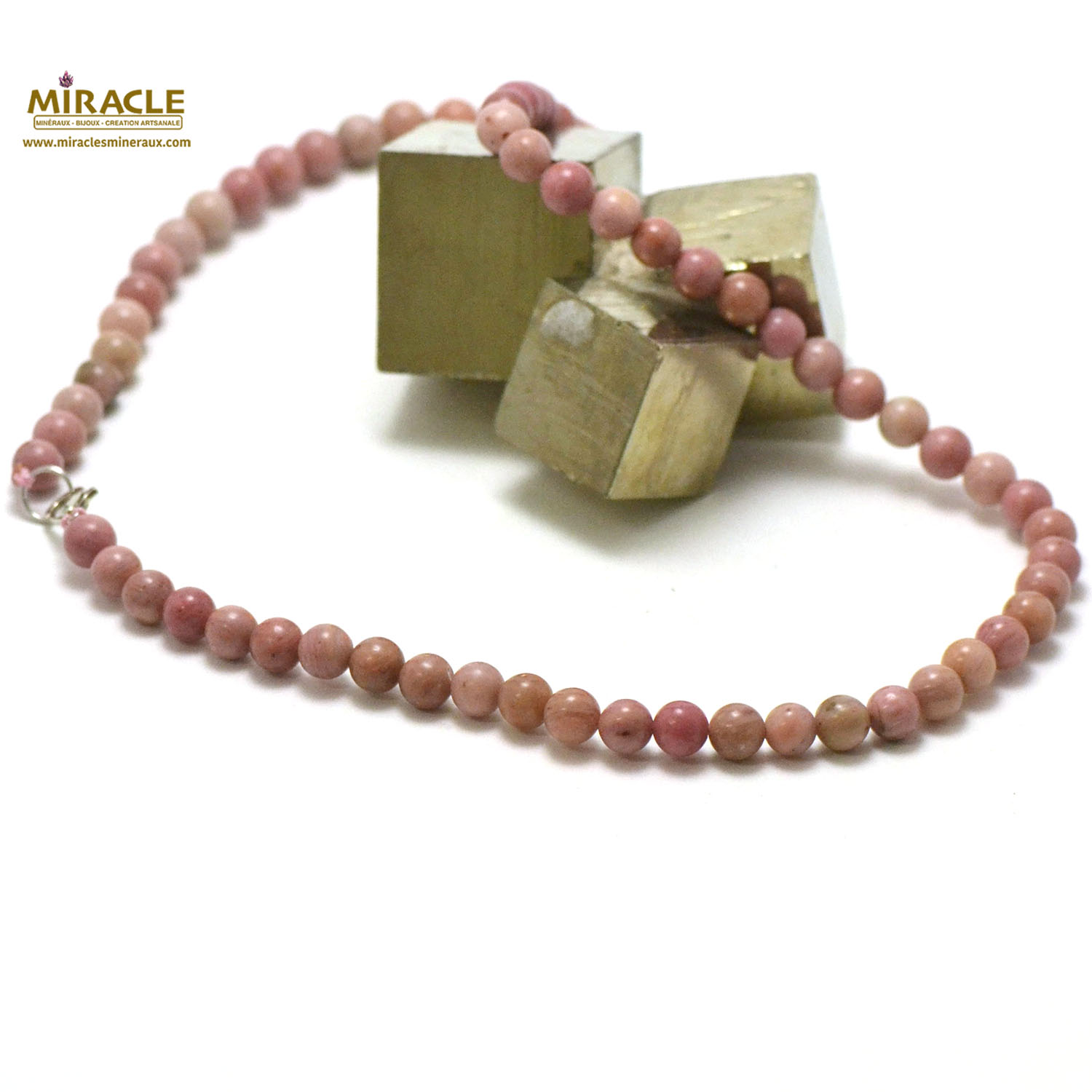 collier rhodonite, perle ronde 6 mm