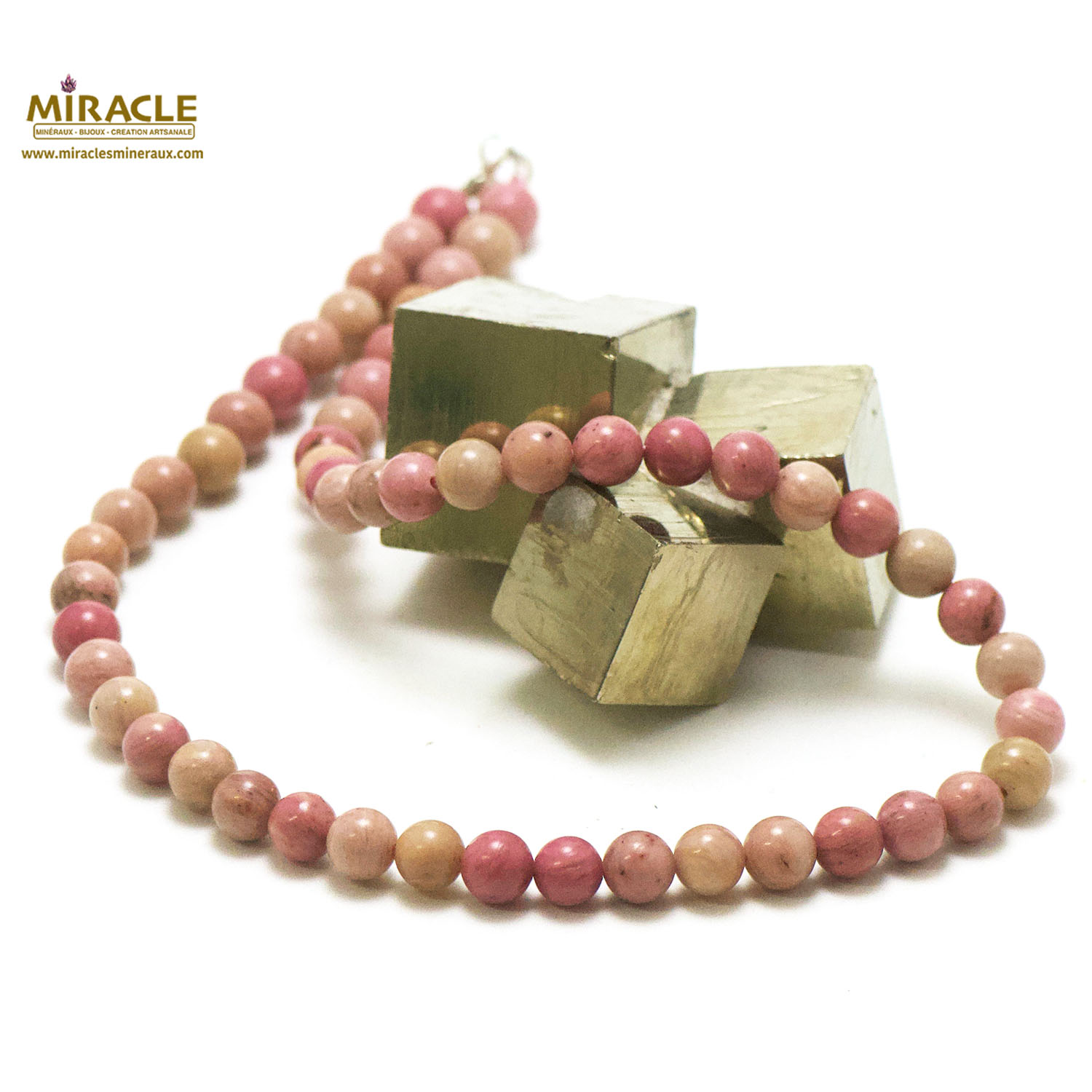 collier rhodonite, perle ronde 8 mm