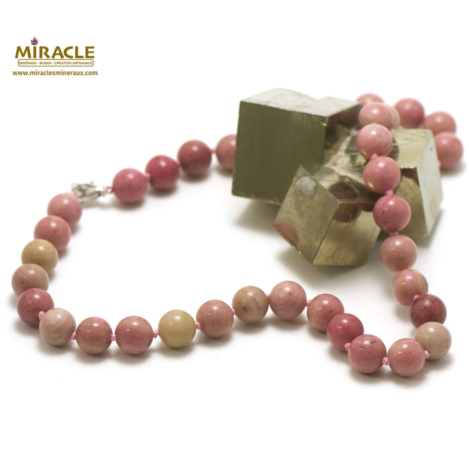 collier rhodonite, perle ronde 10 mm