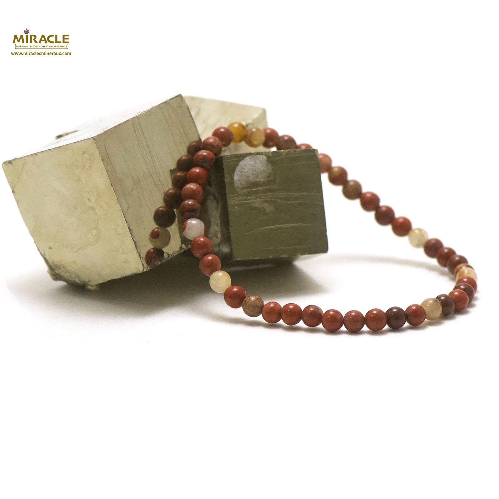bracelet jaspe rouge, perle ronde 4 mm