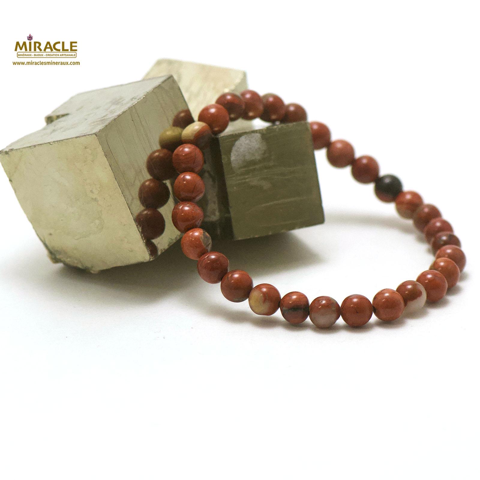 bracelet jaspe rouge, perle ronde 6 mm