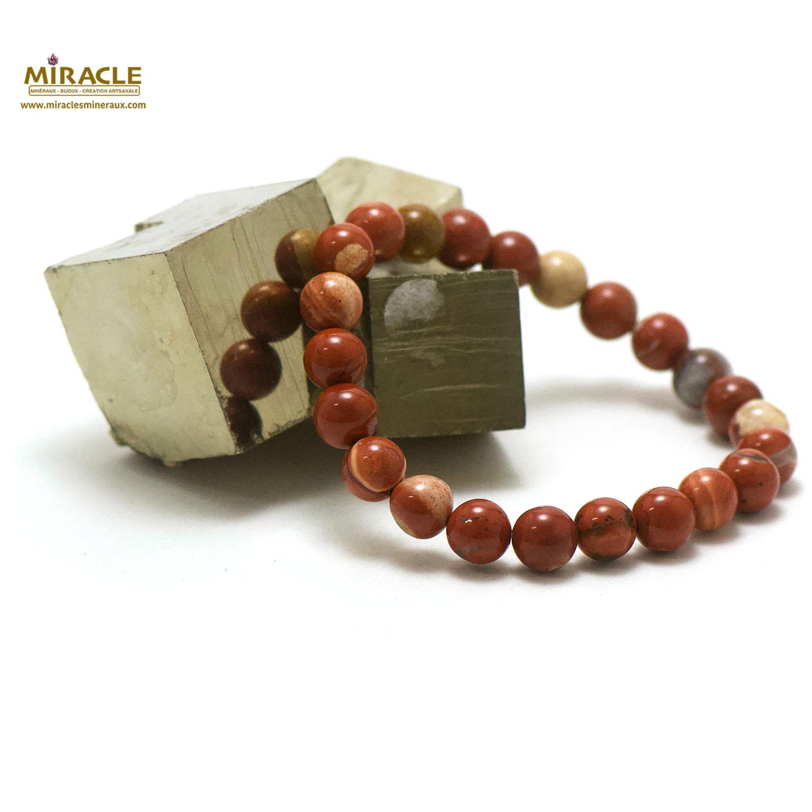 bracelet jaspe rouge, perle ronde 8 mm