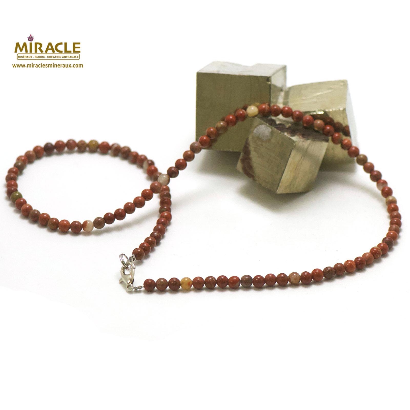 collier en jaspe rouge, perle ronde 4 mm