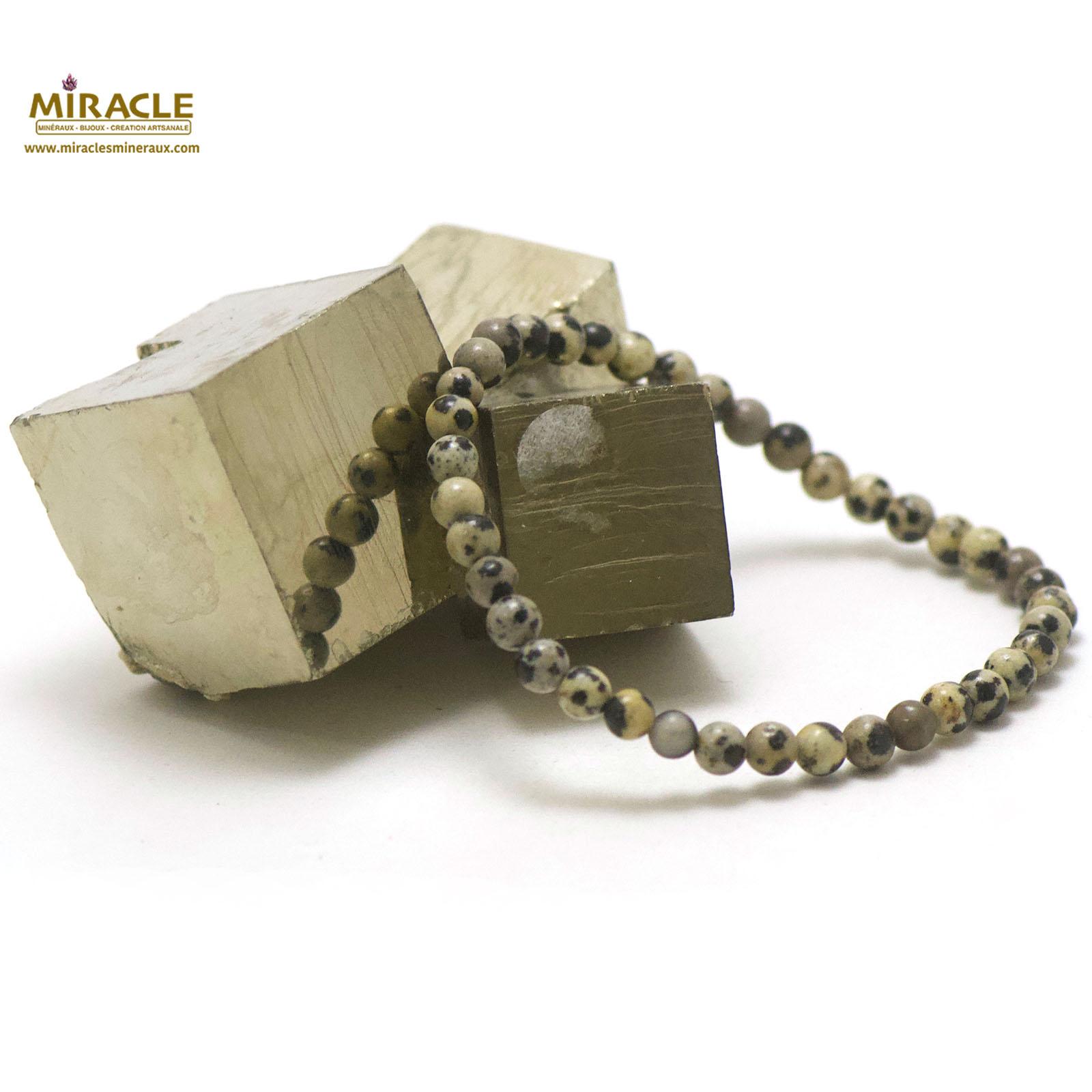 bracelet jaspe dalmatien, perle ronde 4 mm