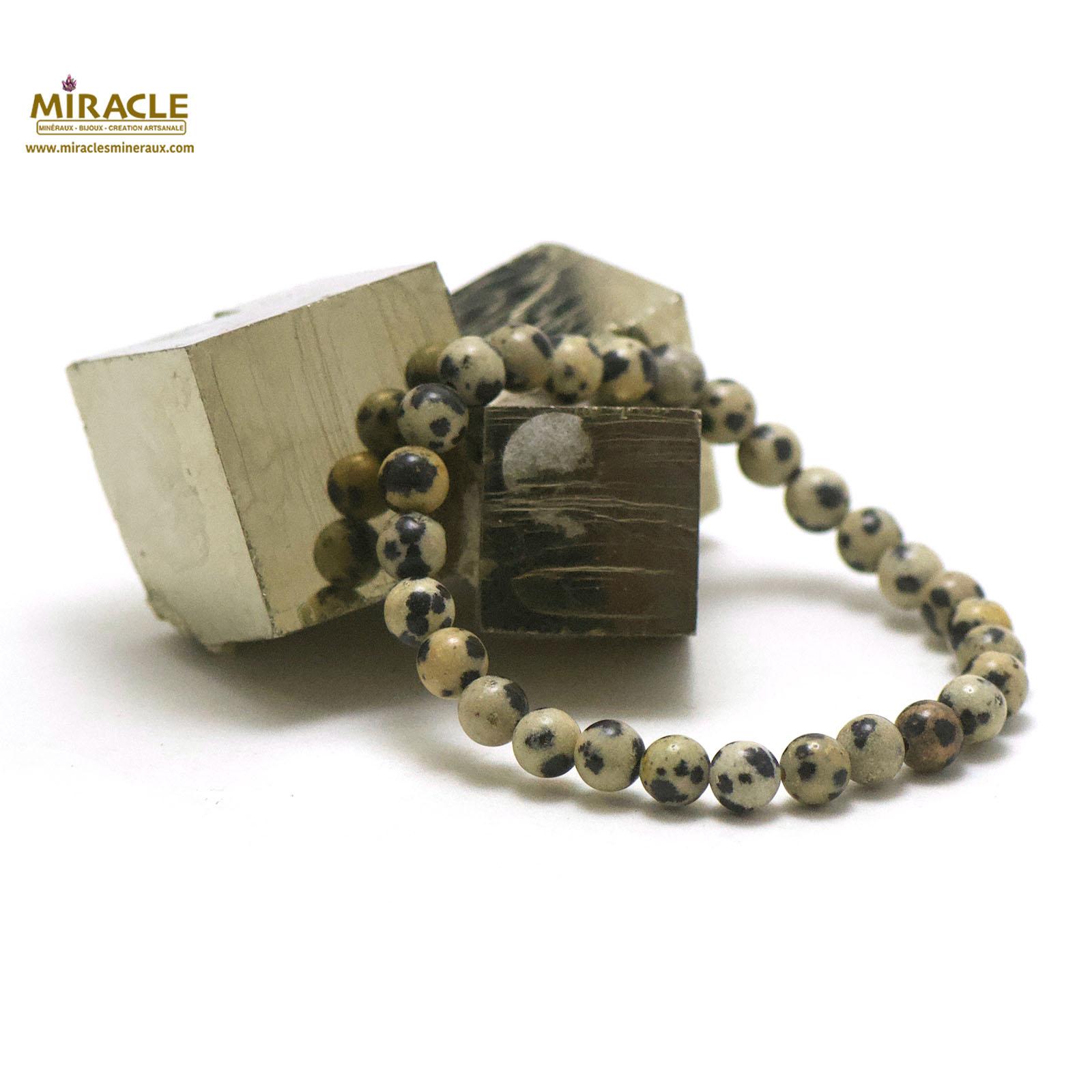 bracelet jaspe dalmatien, perle ronde 6 mm