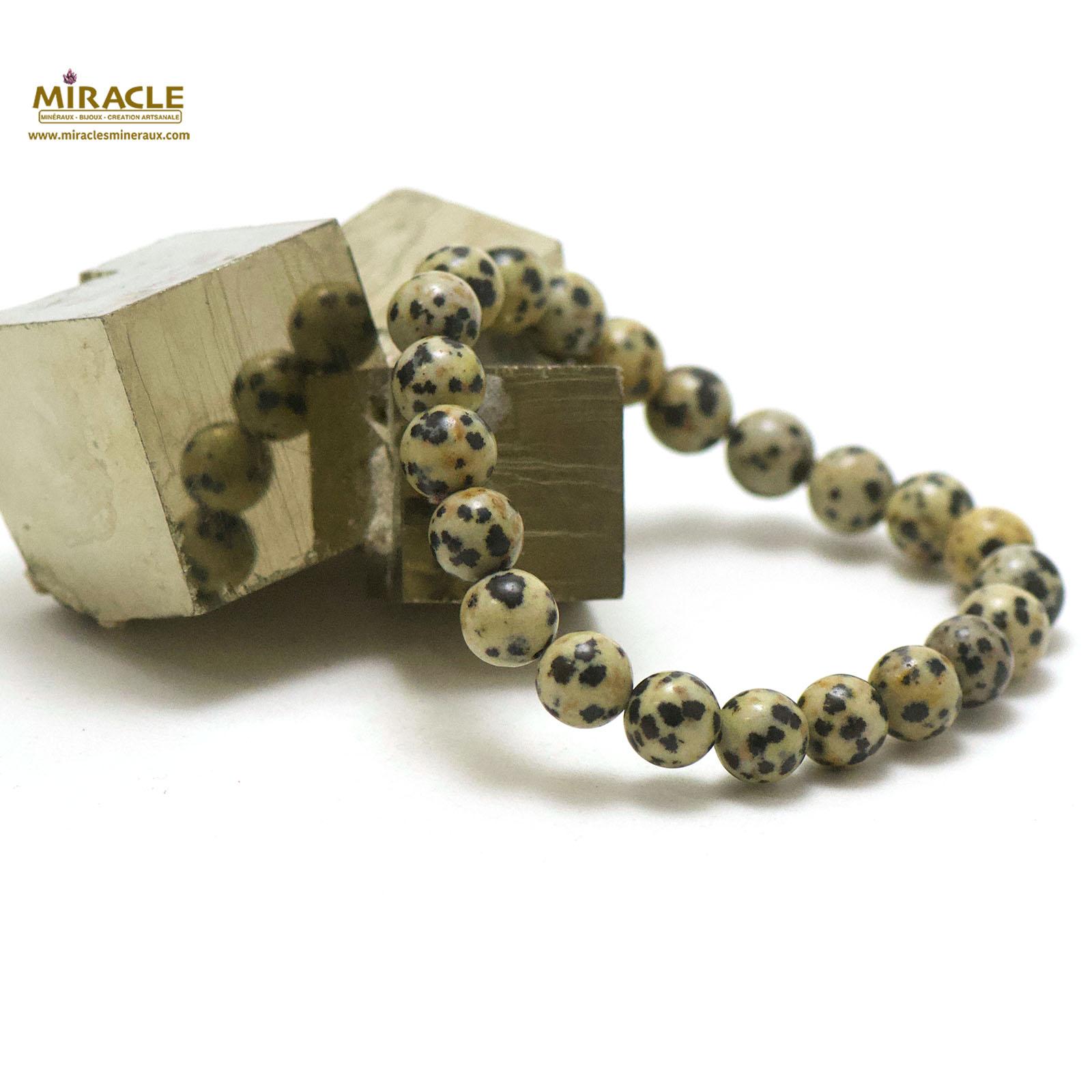 bracelet jaspe dalmatien, perle ronde 8 mm