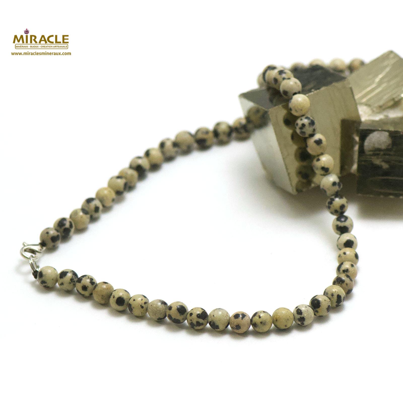 collier en jaspe dalmatien, perle ronde 6 mm