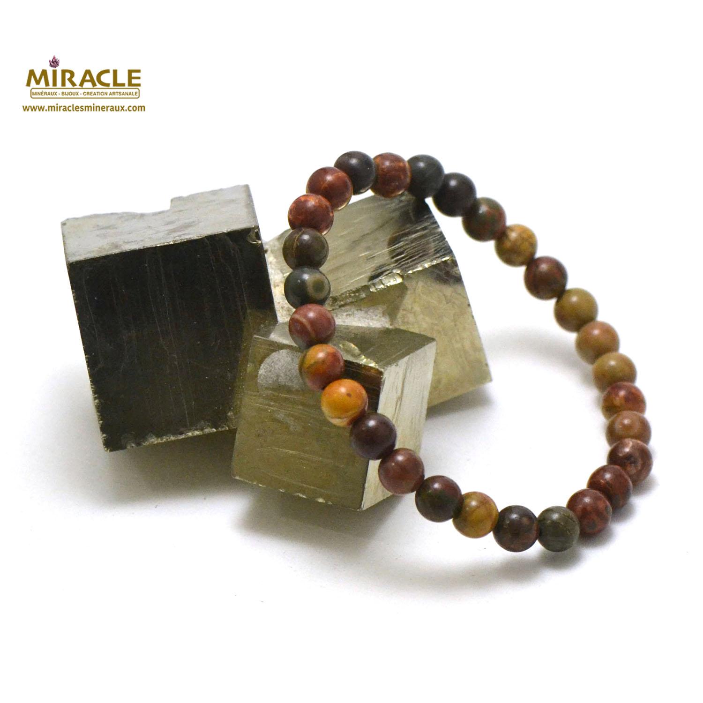 bracelet jaspe picasso, perle ronde 6 mm