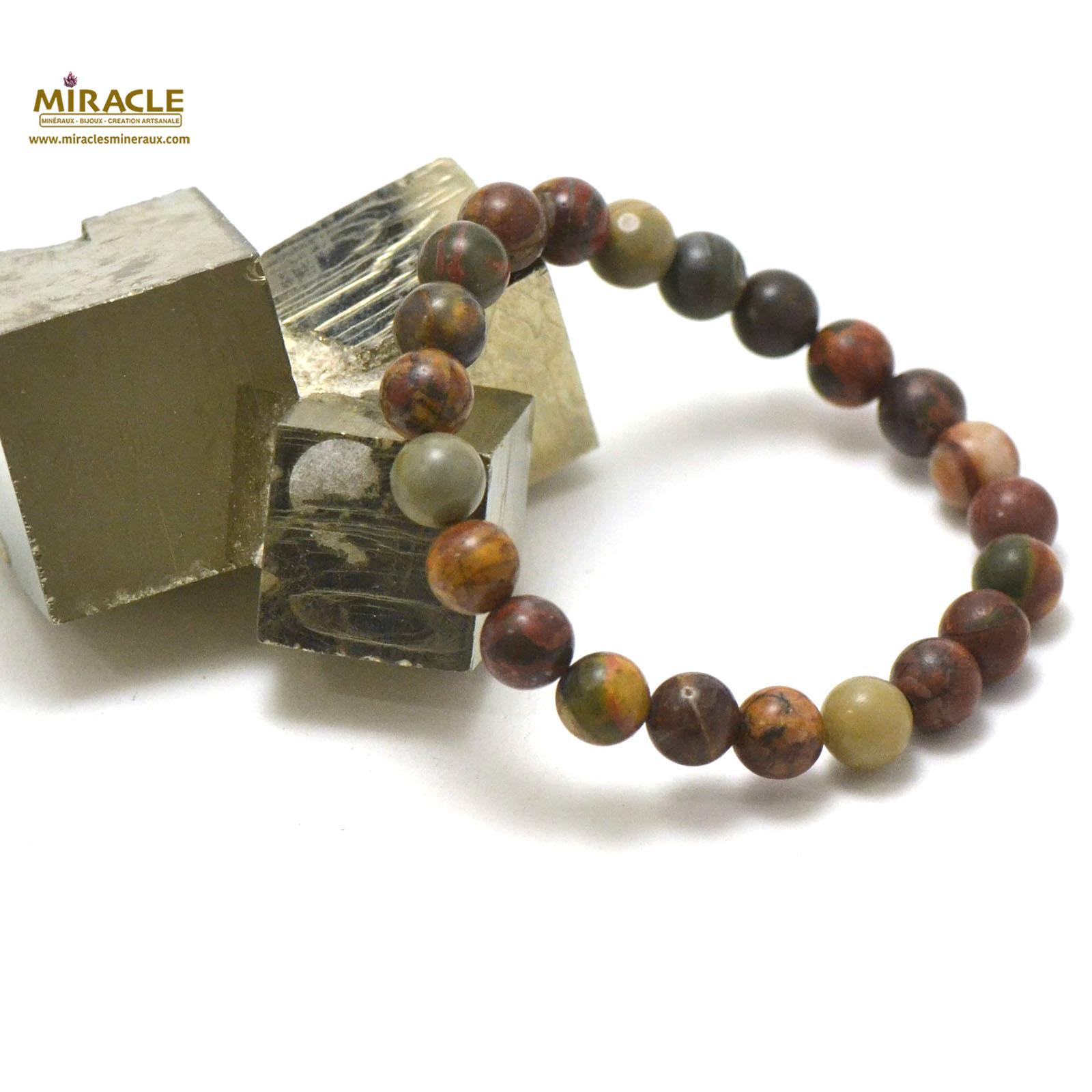 bracelet jaspe picasso, perle ronde 8 mm