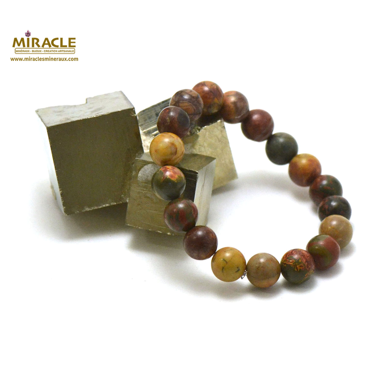 bracelet jaspe picasso, perle ronde 10 mm
