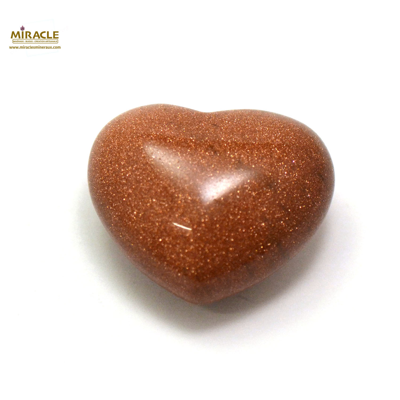 Magnifique statuette coeur en pierre naturelle de pierre de soleil