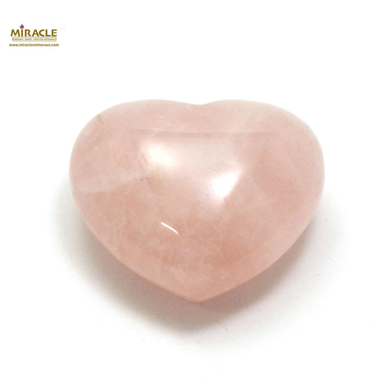 Magnifique statuette coeur en pierre naturelle de quartz rose