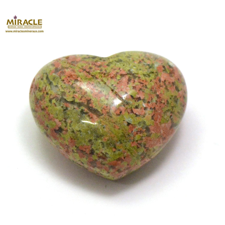 Magnifique statuette coeur en pierre naturelle d\'unakite