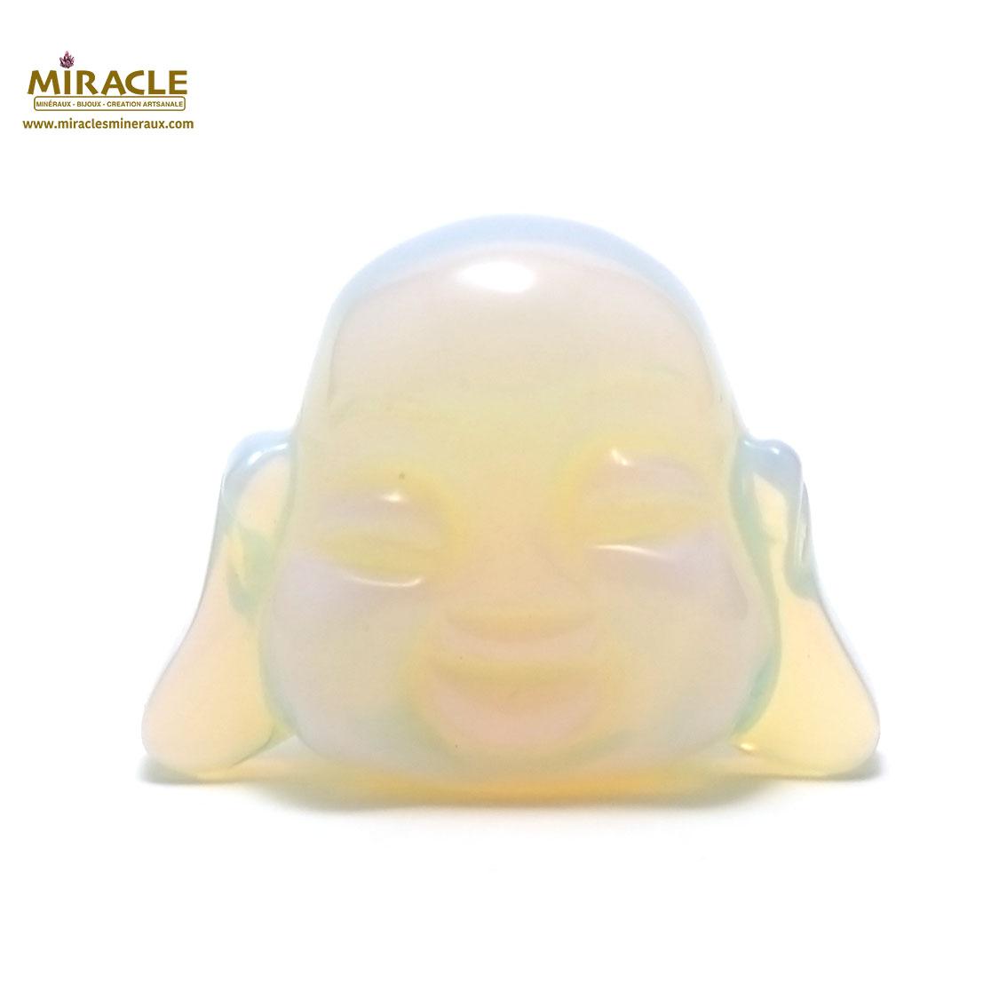 Magnifique statuette tête de bouddha en pierre naturelle d\'opaline