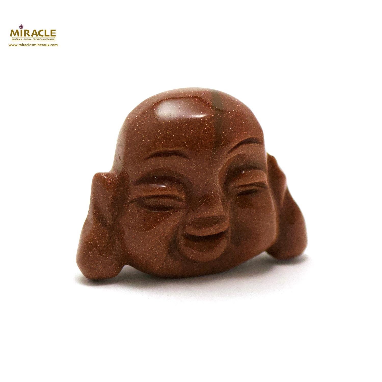 Magnifique statuette tête de bouddha en pierre naturelle de pierre du soleil