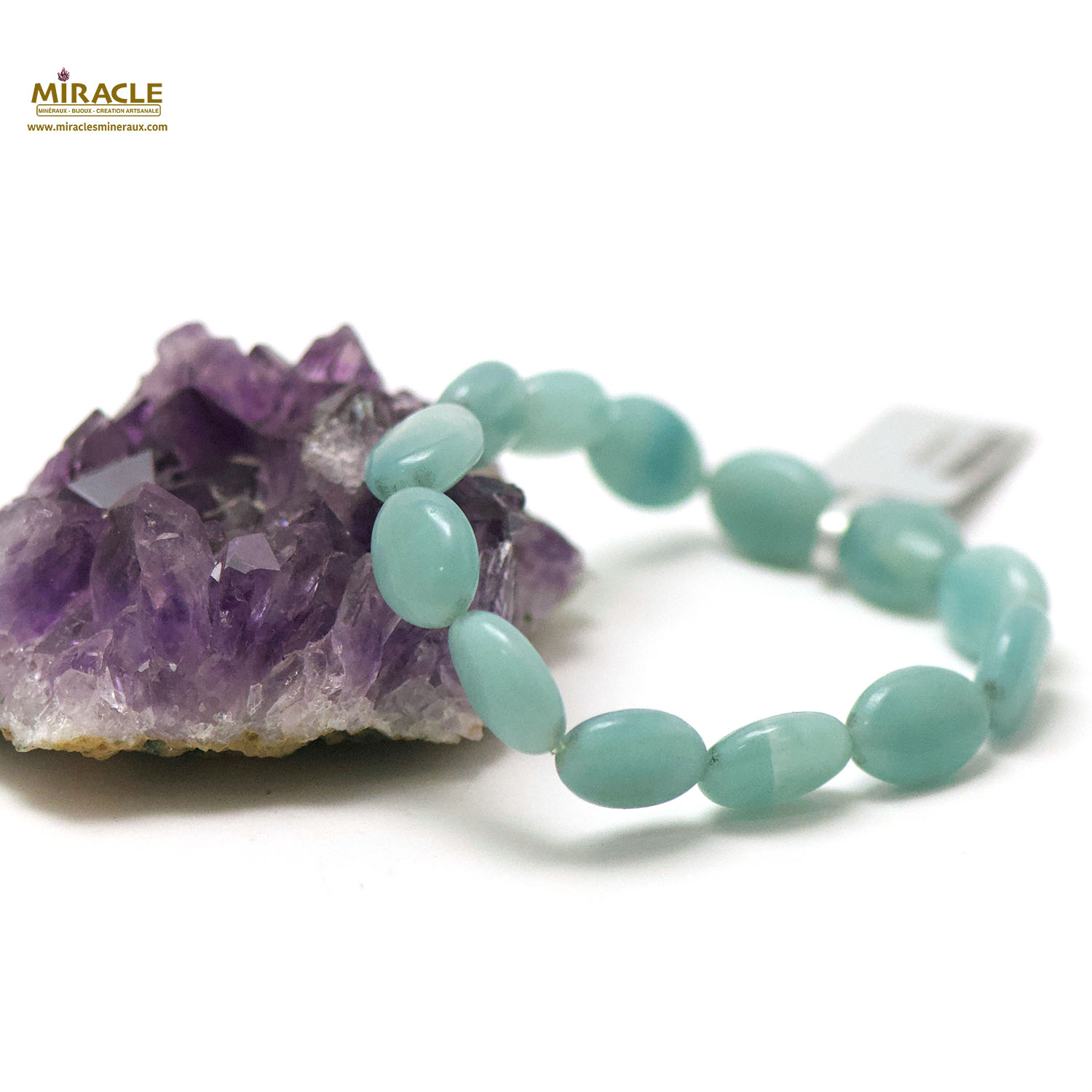 bracelet amazonite, perle perle palet oval 14x10x6 mm