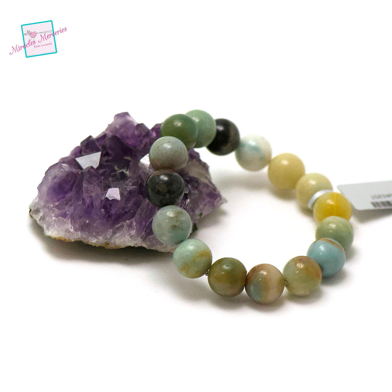 bracelet amazonite brut, perle ronde 12 mm