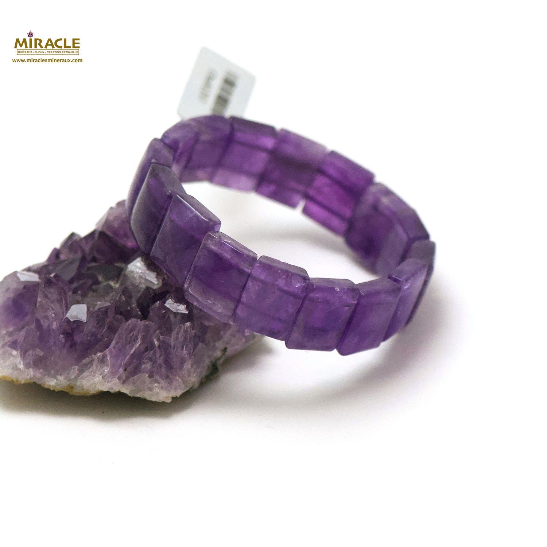 bracelet améthyste, plaquette rectangle