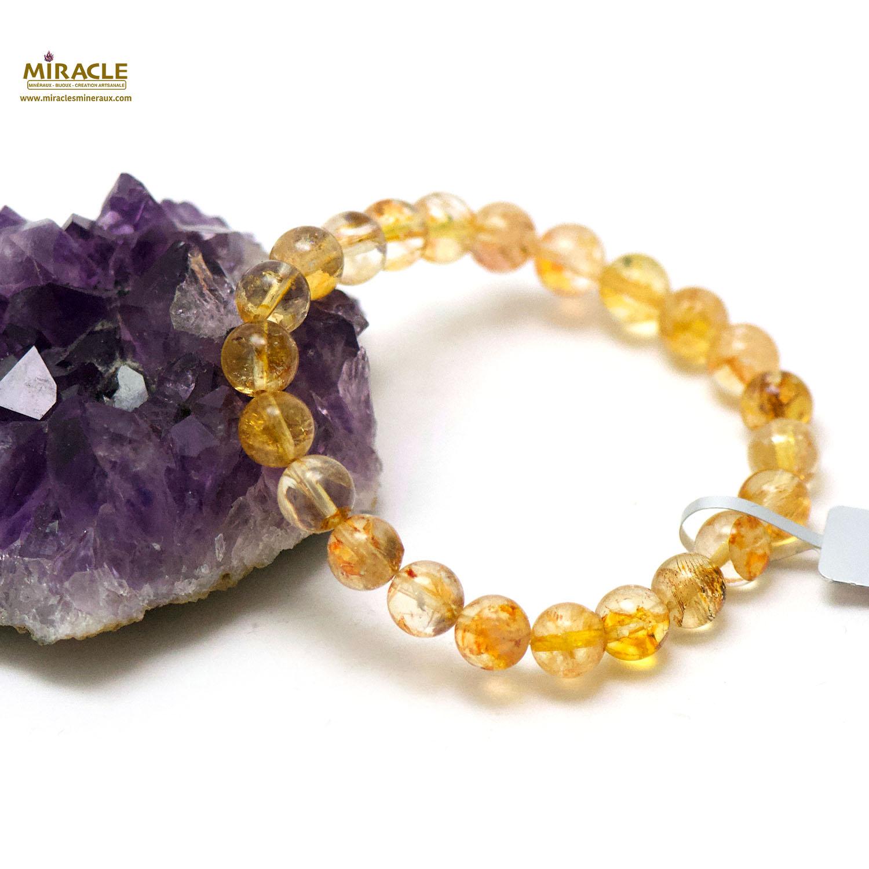 bracelet citrine ronde 8 mm