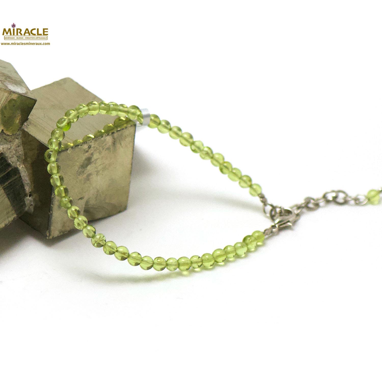 Bracelet péridot, perle ronde 4 mm