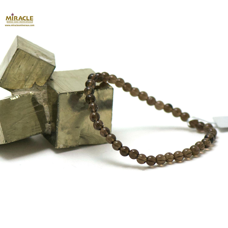 bracelet quartz fumé, perle ronde 4 mm