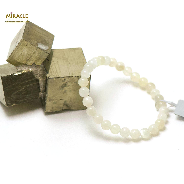 bracelet pierre de lune, perle ronde 6 mm