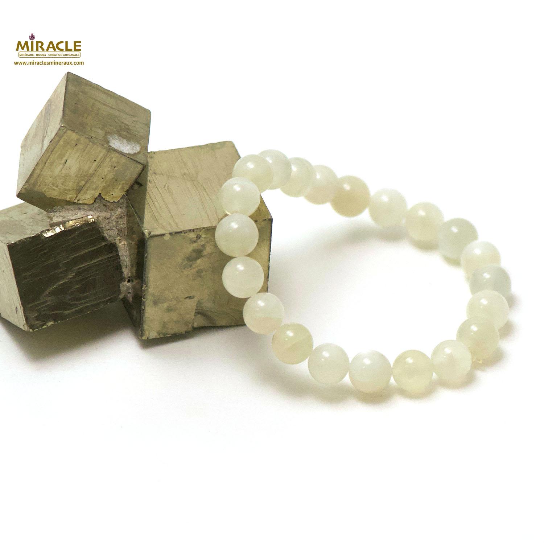 bracelet pierre de lune, perle ronde 8 mm
