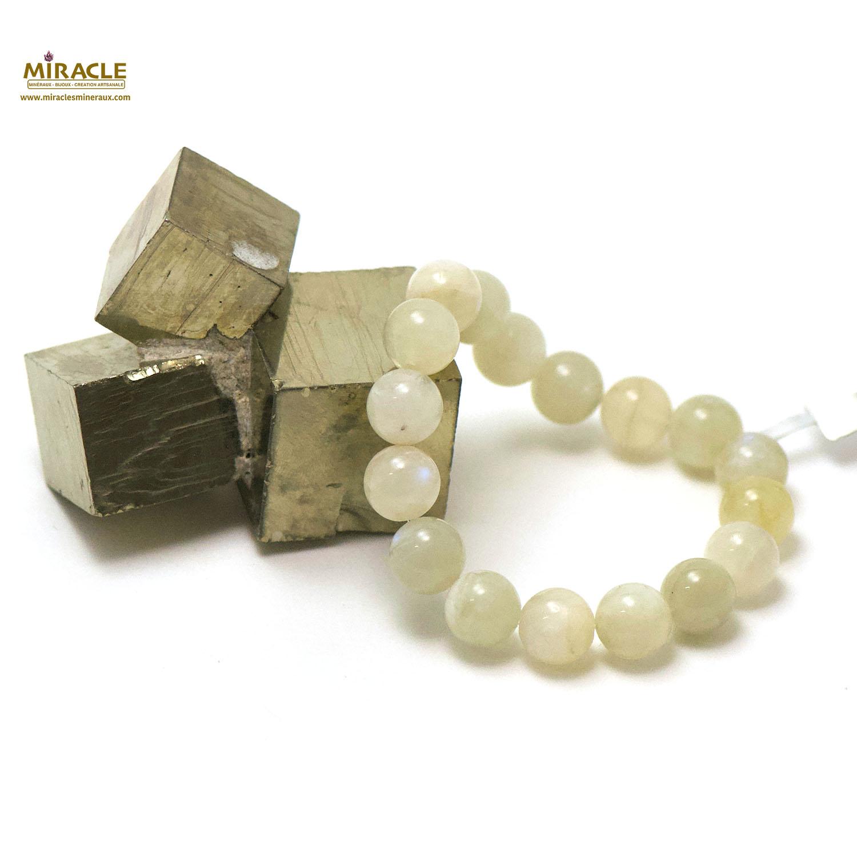 bracelet pierre de lune, perle ronde 11 mm