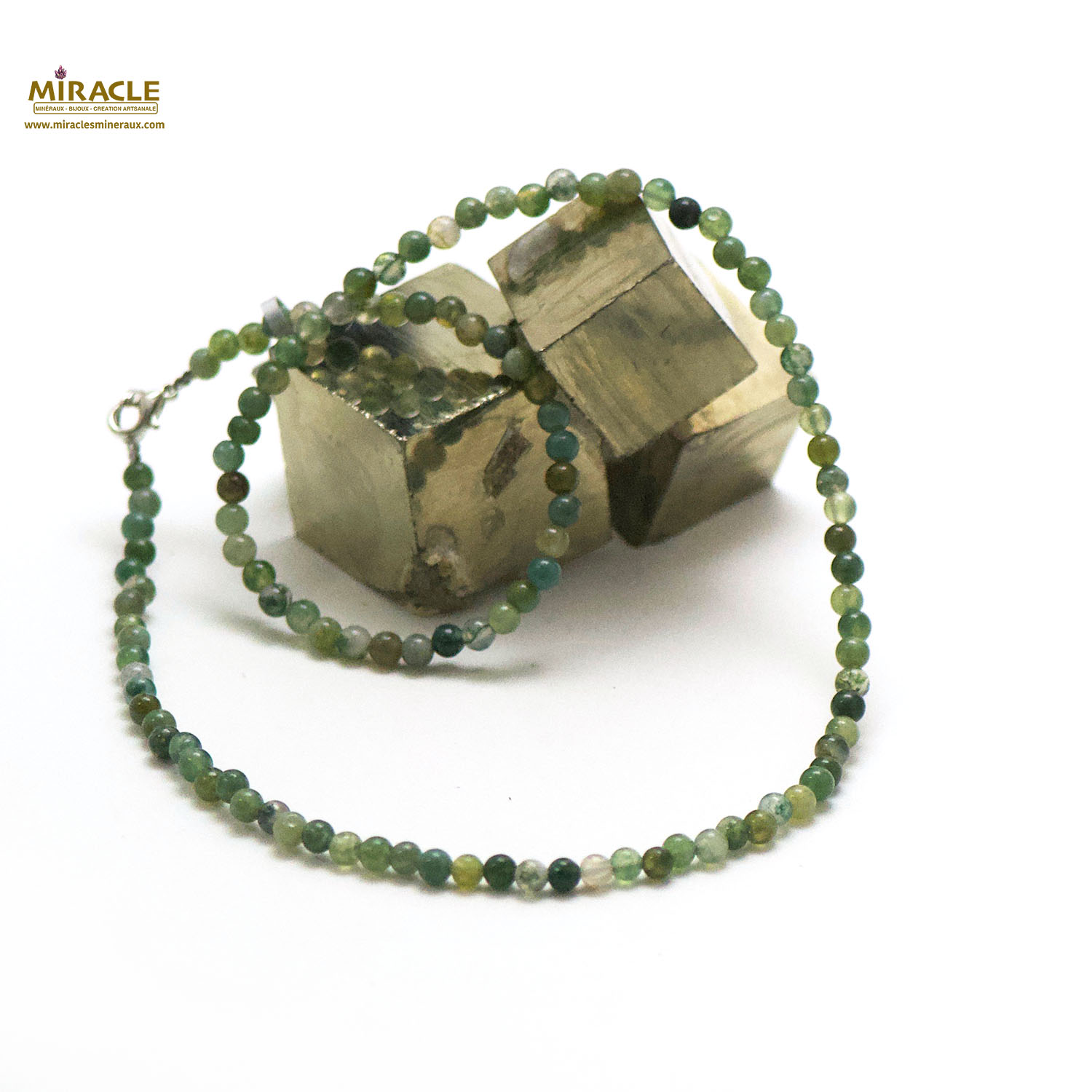 collier agate mousse, perle ronde 4 mm