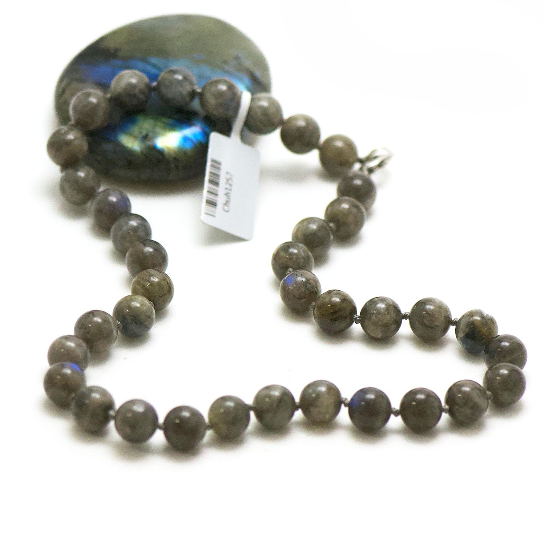 collier labradorite, perle ronde 10 mm