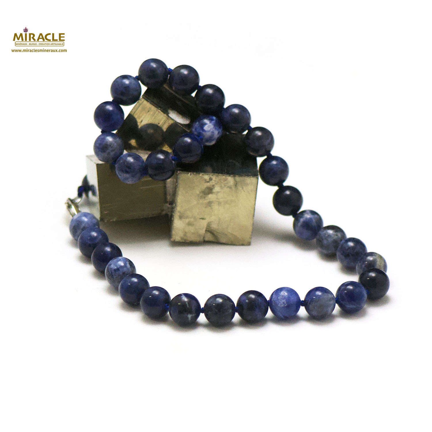 collier sodalite perle ronde 10 mm