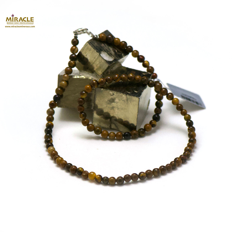 collier trois oeil(oeil de tigre/oeil de taureau/oeil faucon), perle ronde 4 mm