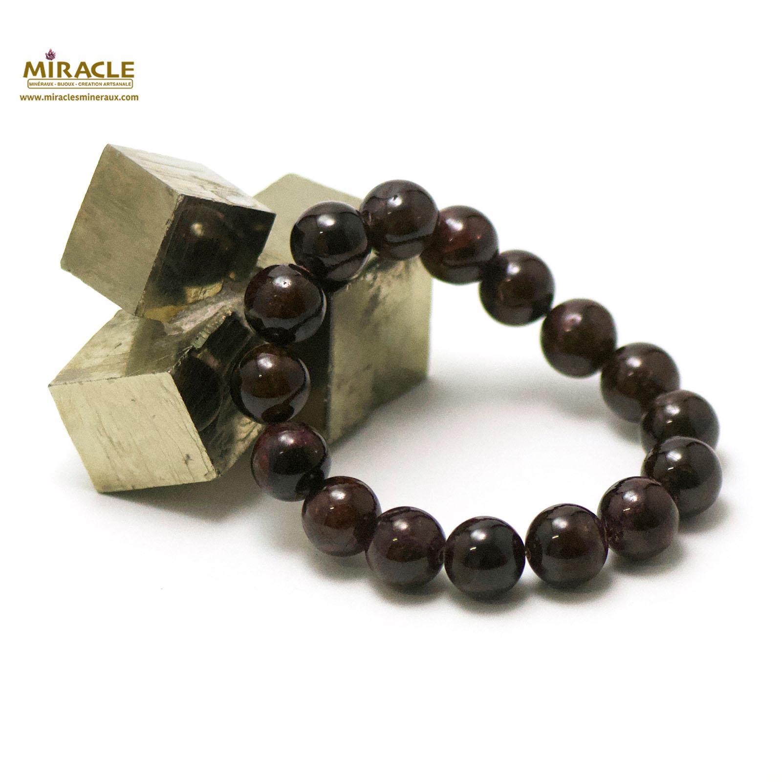 bracelet grenat,  perle ronde 12 mm