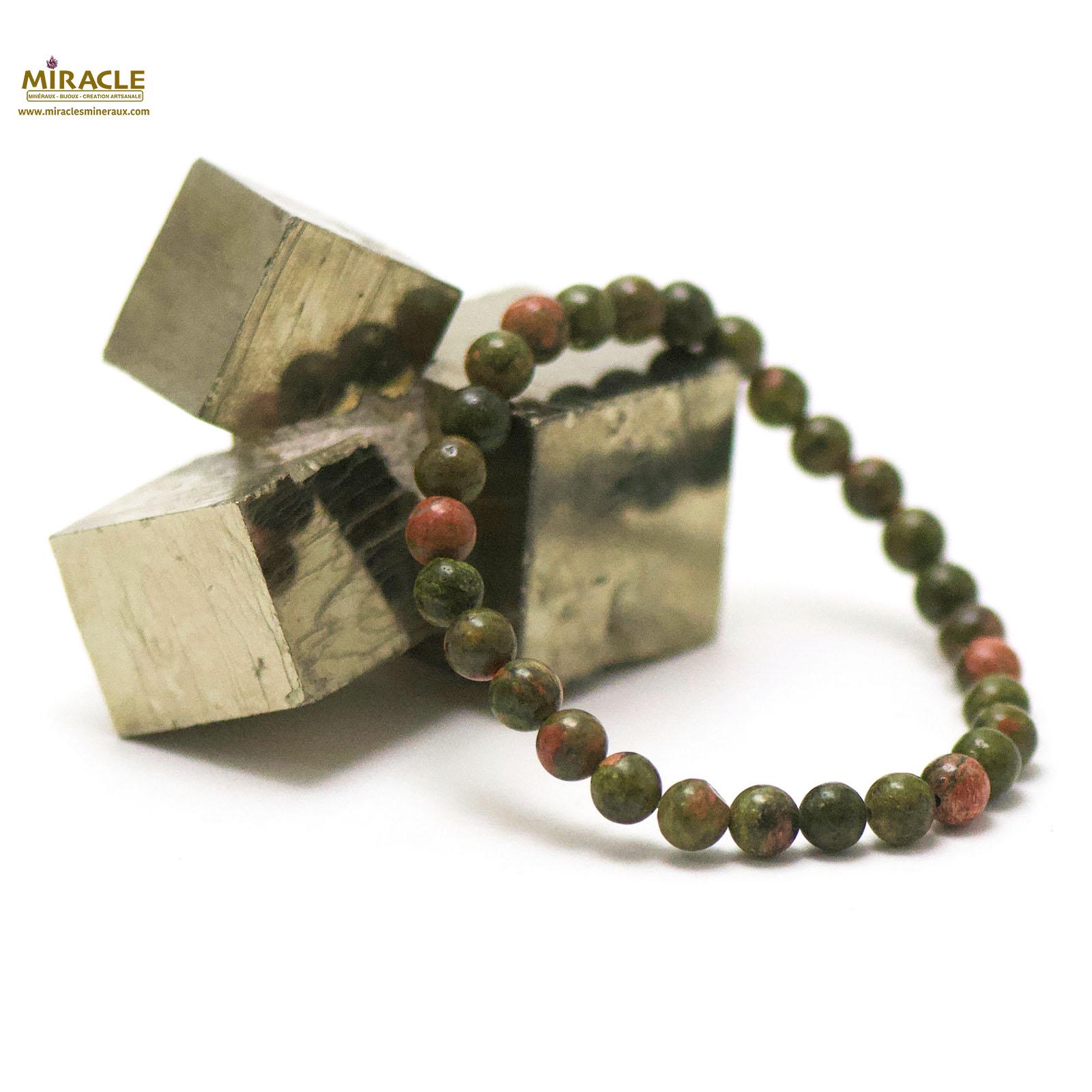 bracelet unakite, perle ronde 6 mm