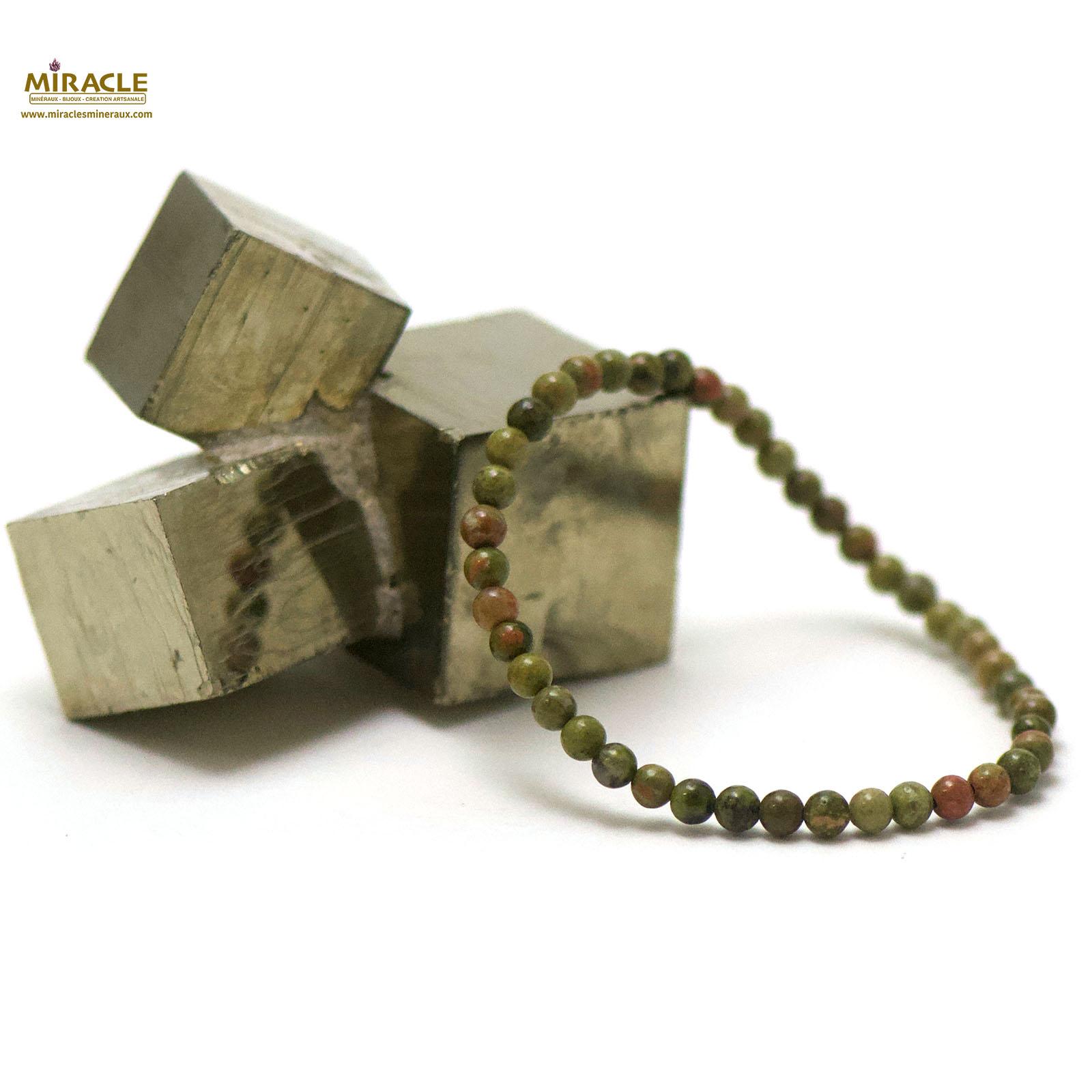bracelet unakite, perle ronde 4 mm
