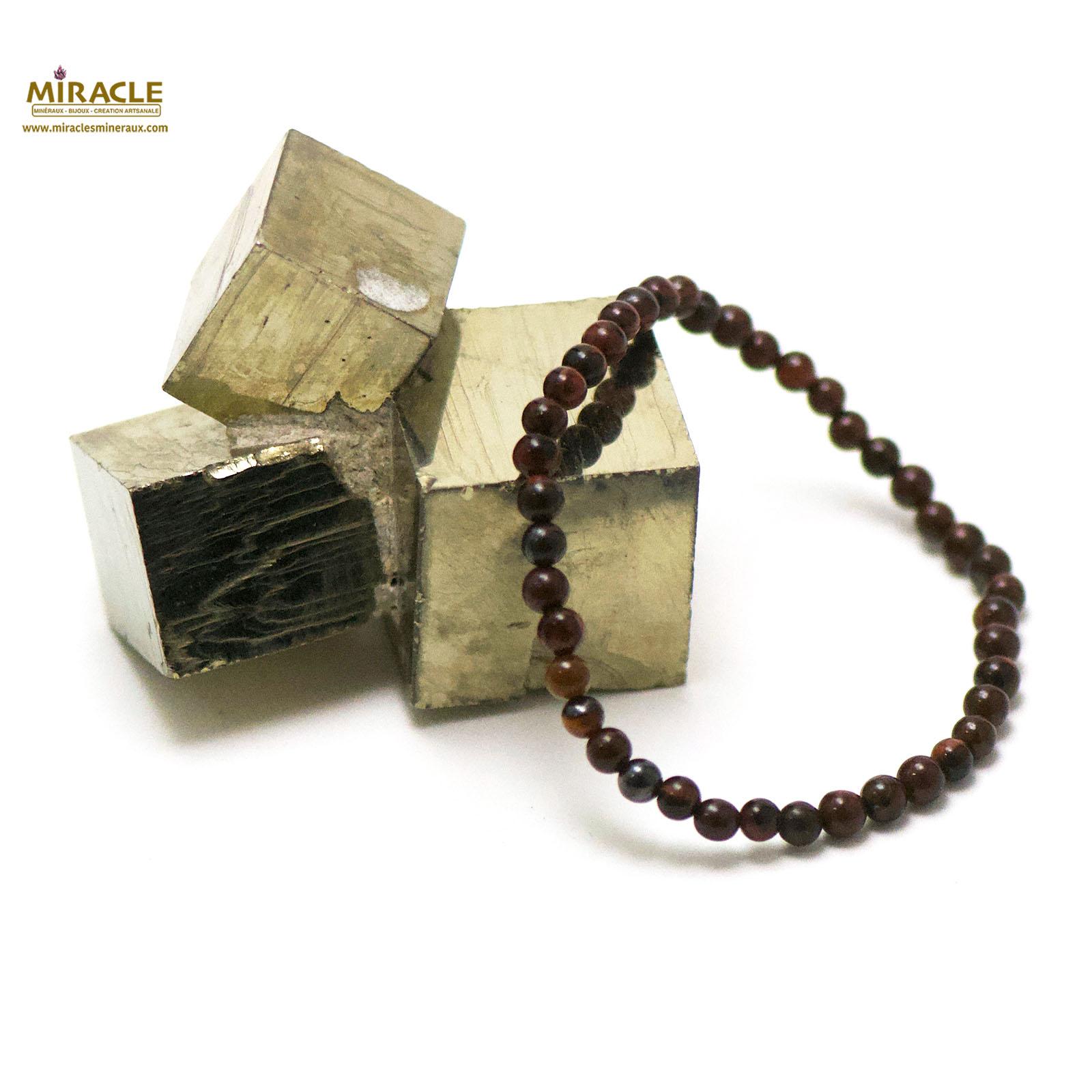 Bracelet oeil de taureaux perle ronde 4 mm