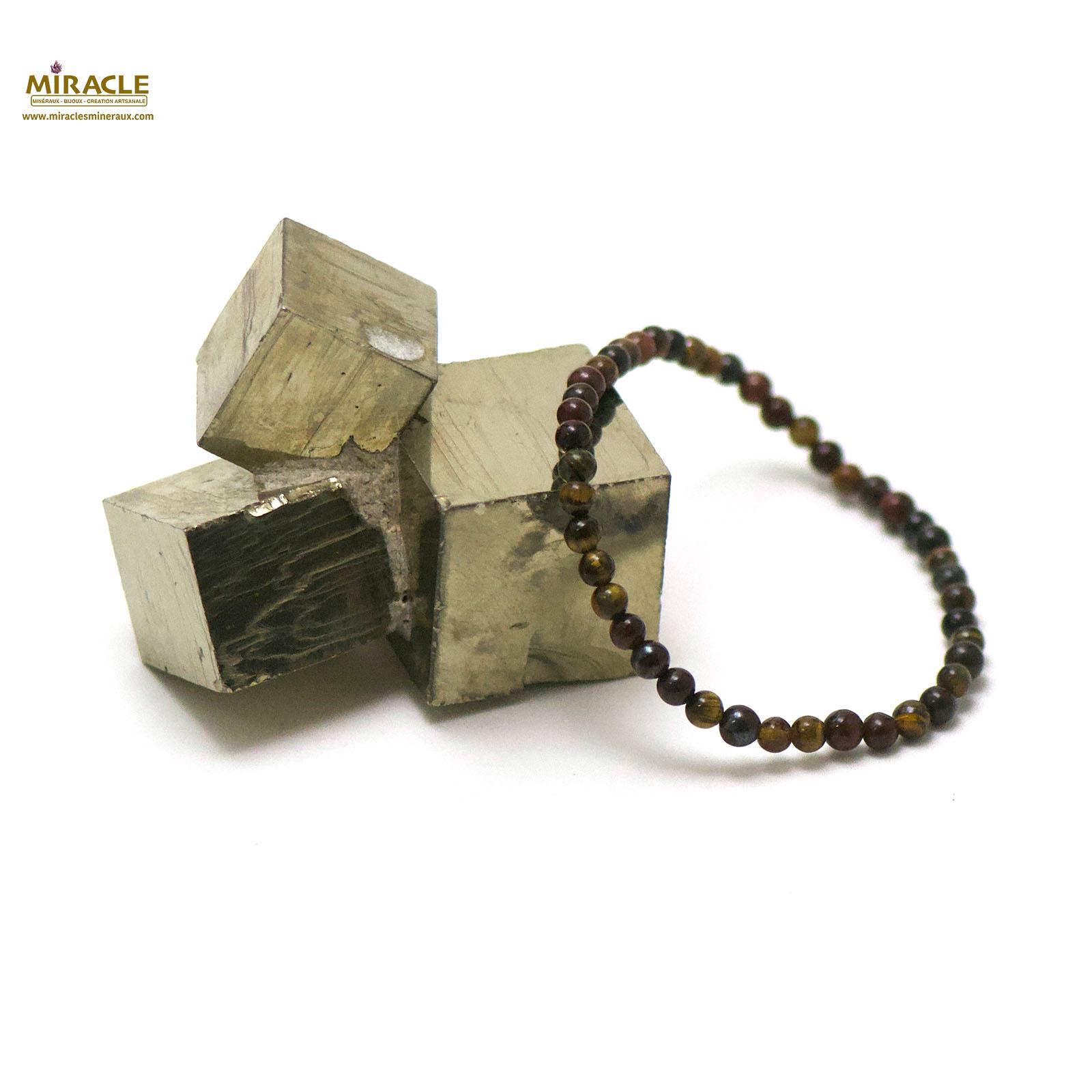 bracelet trois oeil (oeil de tigre/oeil de taureau/oeil de faucon), perle ronde 4 mm