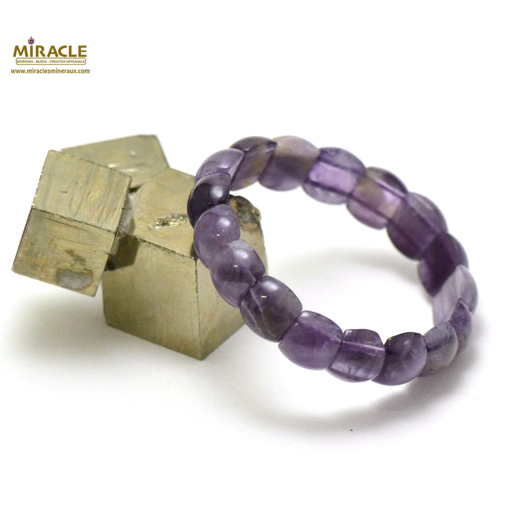 bracelet améthyste plaquette demi-rond