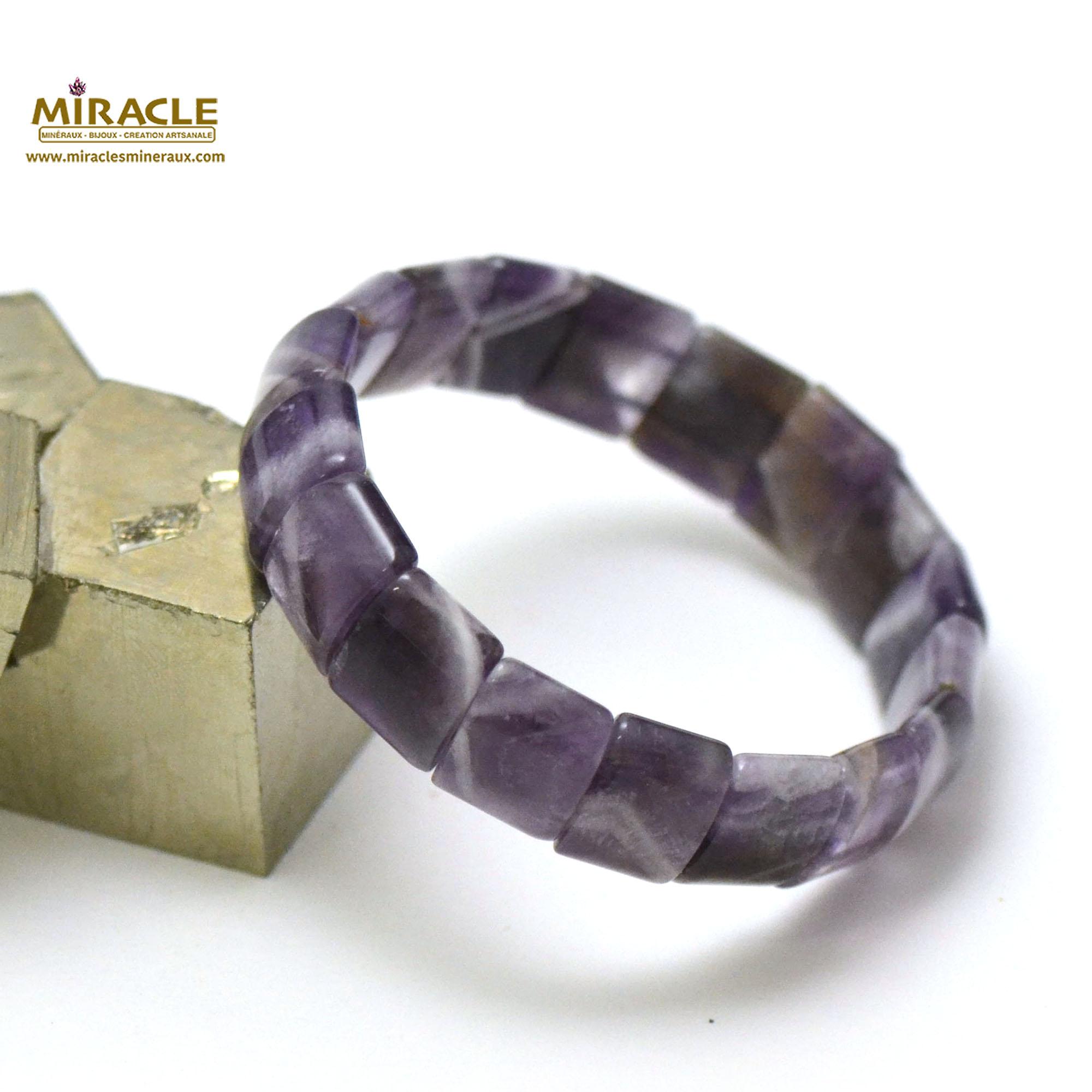 bracelet améthyste plaquette rectangle bombé
