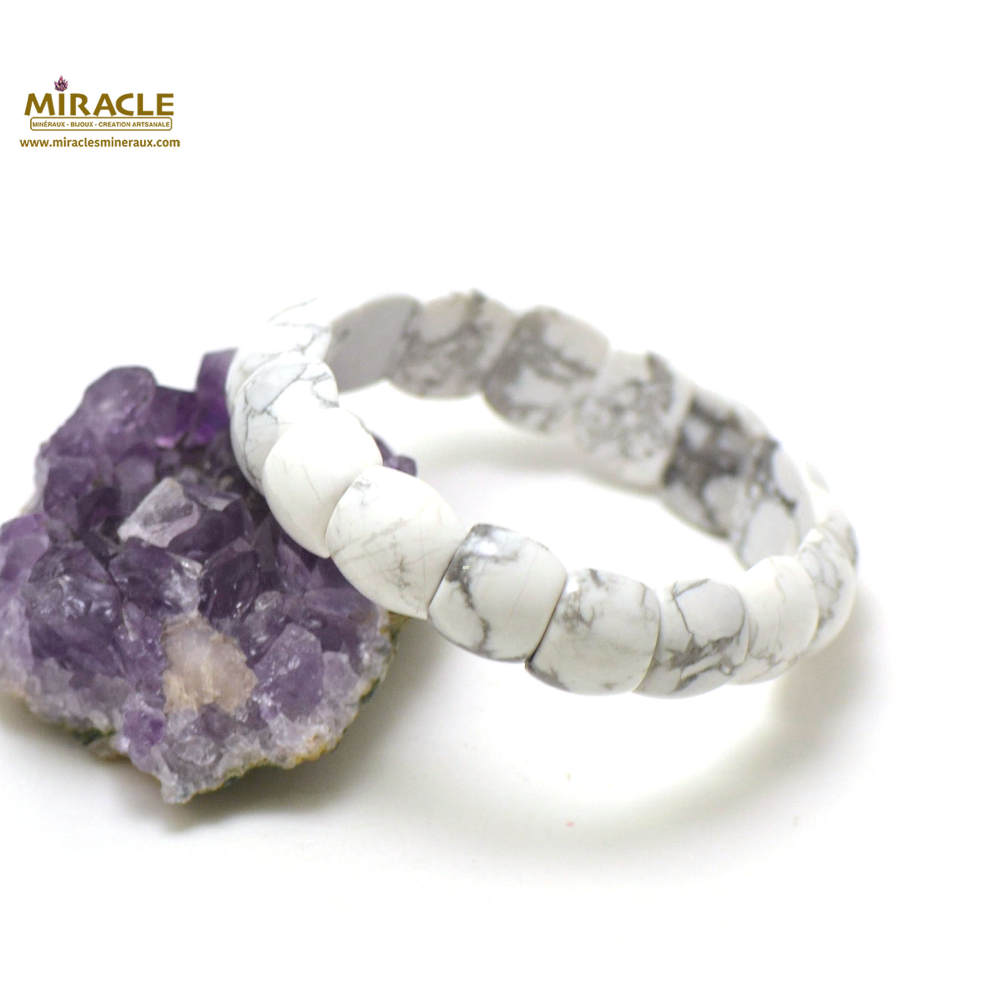 bracelet howlite plaquette demi-rond