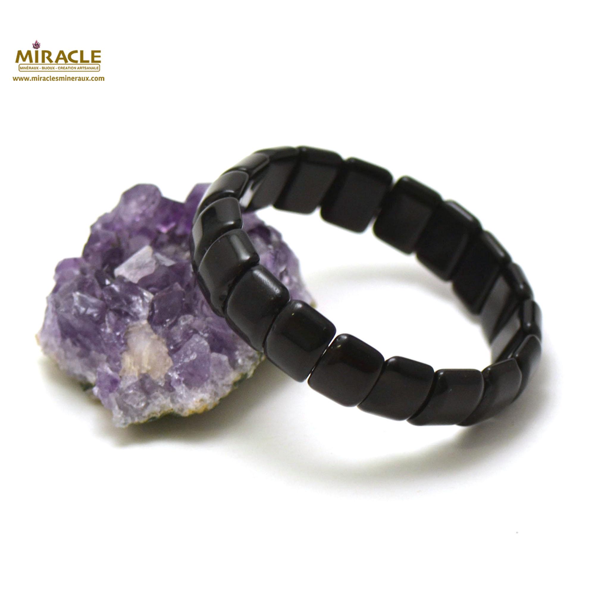 bracelet obsidienne noir plaquette rectangle bombé
