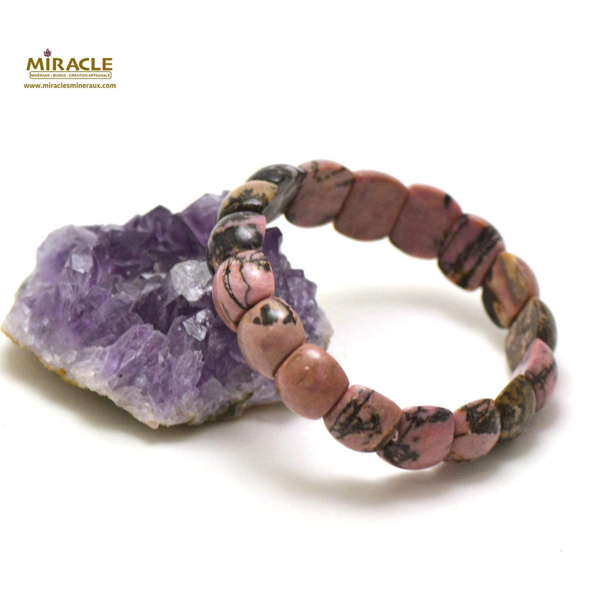 bracelet rhodonite de Madagascar plaquette demi-rond